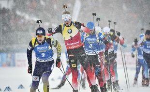 Johannes Boe devant la meute, comme pendant toute la saison 2018-2019 de biathlon.