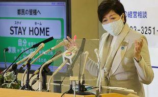 La gouverneure Yuriko Koike lors d'une conférence de presse