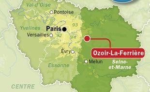 Carte de situation d'Ozoir-la-Ferrière (Seine-et-Marne).