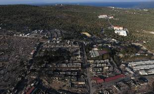 Le camp détruit de Moria, à Lesbos.