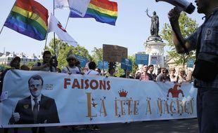 Manifestation contre Emmanuel Macron à l'appel de la France insoumise, le 5 mail 2018 à Paris.