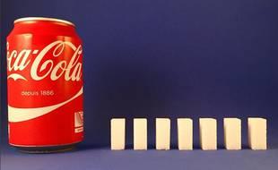 Illustration - Une canette de Coca Cola et son équivalent en sucre