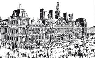 L'hôtel de ville de Paris, image extraite du « Cri du Peuple » de Tardi et Vautrin.