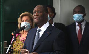 Le président de la Côte d'Ivoire, Alassane Ouattara, à Abidjan le 31 octobre 2020.