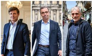 Nicolas Florian, Pierre Hurmic et Philippe Poutou.