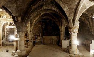 Le cellier gothique de la maison d'Ourscamp est en rénovation dans le 4e arrondissement de Paris. Le 28 août 2018.