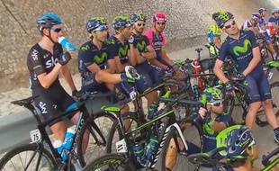 Les coureurs en grève sur le Tour d'Oman, le 21 février 2015.