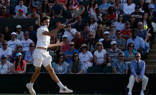 Gilles Simon lors de sa victoire en 8e de finale de Wimbledon contre Berdych, le 6 juillet 2015.