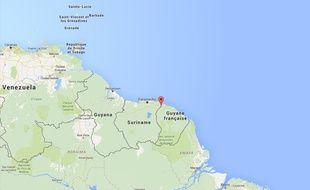 Carte de localisation de Saint-Laurent-du- Maroni (Guyane).