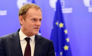 Le président du Conseil européen Donald Tusk lors d'une conférence de presse le 2 février 2016 à Bruxelles