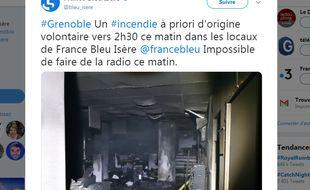 Les locaux dévastés de l'antenne de France Bleu Isère.