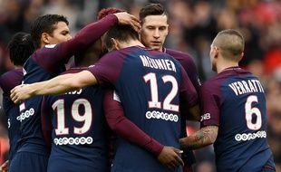 Les Parisiens lors de PSG-Metz le 10 avril 2018.