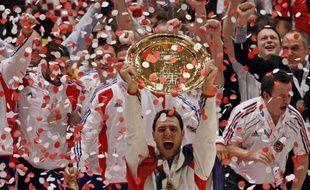 L'équipe de France de handball célèbre son titre de championne d'Europe à Vienne le 31 janvier 2010.