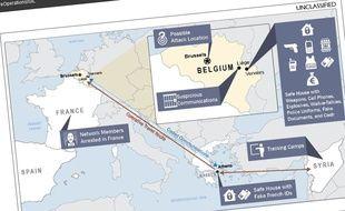 Un rapport du renseignement américain montre la route empruntée par les djihadistes pour une tentative avortée d'attentat en Belgique, qui aurait été dirigée par Abdelhamid Abaaoud.