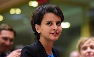 La ministre de l'Education, Najat Vallaud-Belkacem, le 18 mai 2015 à Bruxelles