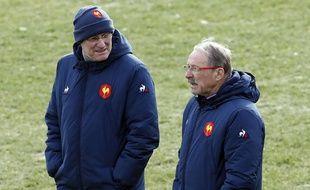 Bernard Laporte et Jacques Brunel à Marcoussis, le 31 janvier 2019.