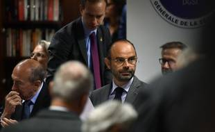 Edouard Philippe, le 13 juillet 2018 au siège de la DGSI.