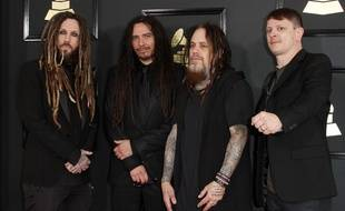 Le groupe Korn le 11 fébrier 2017 à Los Angeles