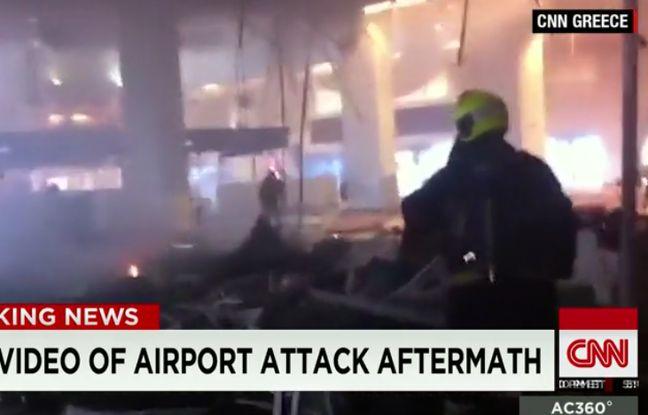 L'aéroport de Bruxelles, quelques minutes après les attaques terroristes du 22 mars 2016.