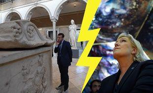 Emmanuel Macron, au musée du Bardo à Tunis, et Marine Le Pen, au musée du château Couvert.