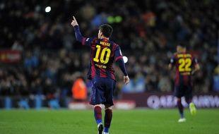 Lionel Messi lors du match entre le FC Barcelone et Almeria le 8 avril 2015.