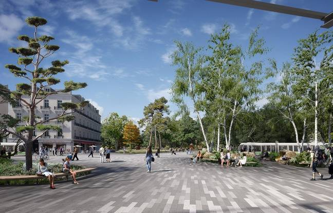 Le futur parvis nord de la gare de Nantes, vu depuis la sortie de la gare.