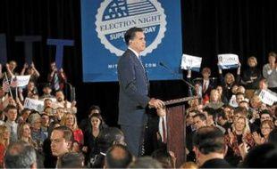 L'ancien gouverneur du Massachusetts, Mitt Romney, en meeting à Boston, mardi.