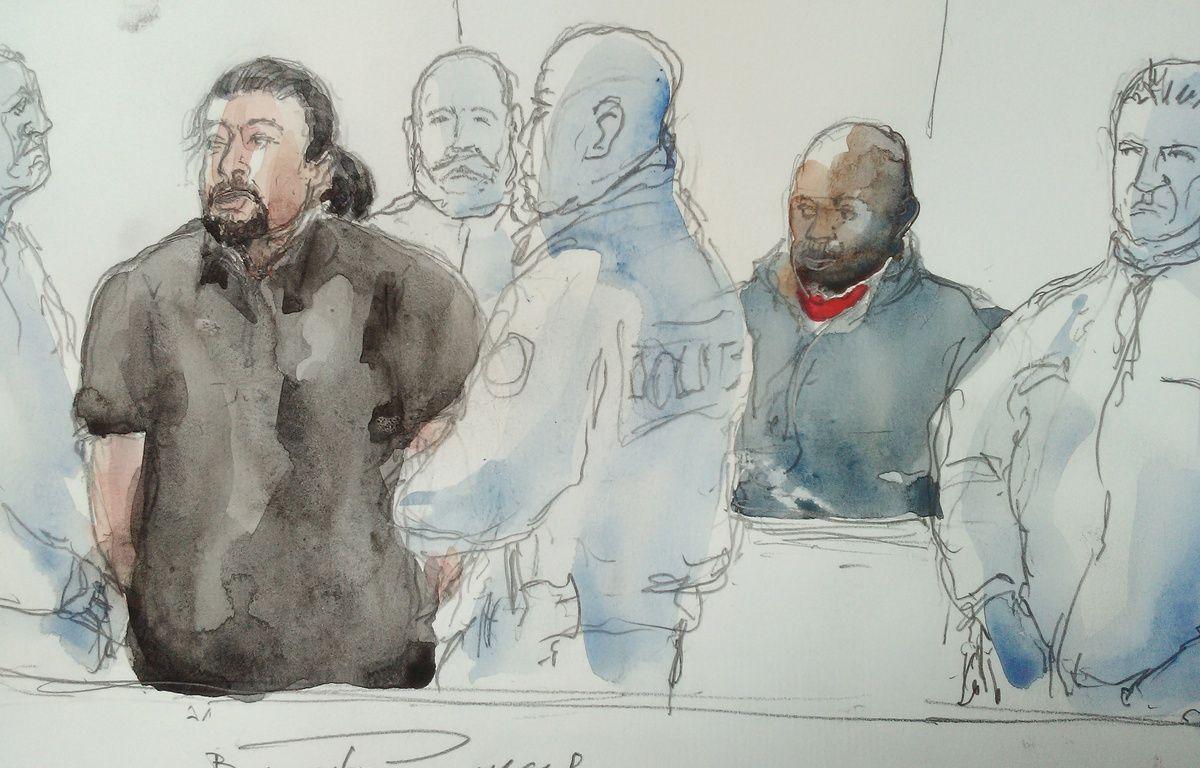 Jawad Bendaoud lors de son procès le 26 janvier 2017 au cours duquel il a copieusement insulté et menacé les policiers qui l'escortaient.  – BENOIT PEYRUCQ / AFP