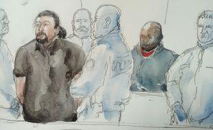 Jawad Bendaoud lors de son procès le 26 janvier 2017 au cours duquel il a copieusement insulté et menacé les policiers qui l'escortaient.