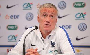 Didier Deschamps en conférence de presse au Stade de France, le 12 juin 2017.