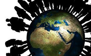 Illustration d'une planète surpeuplée.