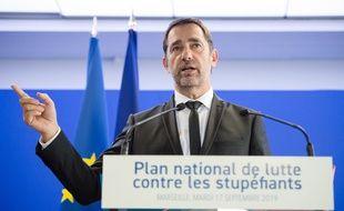 Le ministre de l'intérieur, Christophe Castaner, lors de la présentation du plan national anti stup' à Marseille.