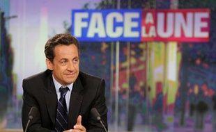 Nicolas Sarkozy, candidat UMP à la présidentielle 2007 sur TF1 pour «Face à la Une»