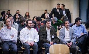 Les militants Gorka Ovejero, Julio Martin, Ibon Garcia et Mikel Alvarez Forcada à leur procès pour entartage à Madrid (Espagne), le 18 novembre 2013.