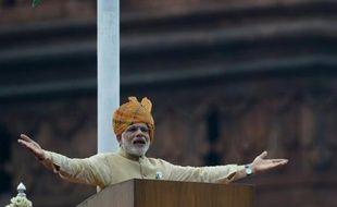 Le Premier ministre indien Narendra Modi s'exprime à New Delhi le 15 août 2015 lors des cérémonies pour fêter l'indépendance du pays