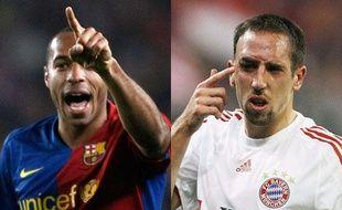 Le Barcelonais Thierry Henry (G) et le Bavarois Franck Ribéry (D). REUTERS et SIPA.