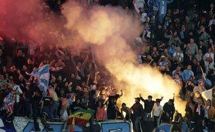 Les supporters marseillais, lors du match à Naples en Ligue des champions, le 6 novembre 2013.