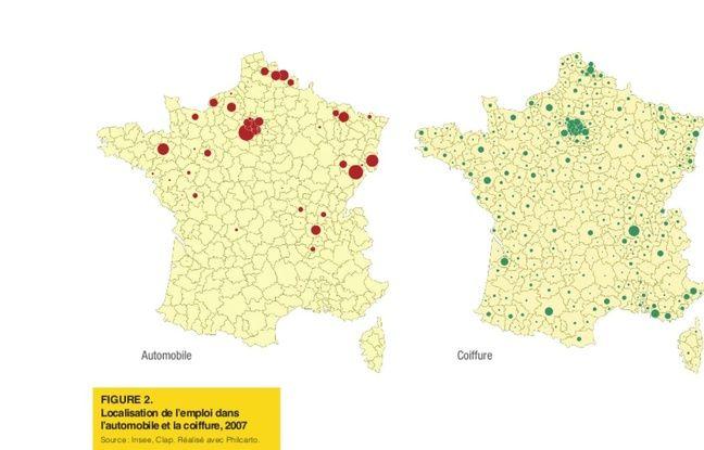 Répartition des emplois en France dans le secteur automobile et dans celui de la coiffure.