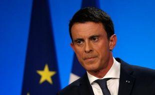 Manuel Valls lors de son allocution au soir des régionales le 13 décembre 2015 à Matignon à Paris