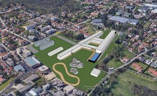 Vue aérienne du site de l'hôpital Charial à Francheville vers Lyon et le projet de reconversion souhaité par les élus locaux..