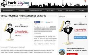 Capture d'écran du blog Paris Zig-Zag.