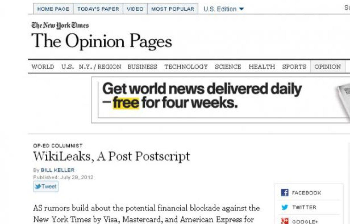 """La page """"Opinion"""" du site du New York Times a été copiée pour diffuser un faux éditorial. – Capture d'écran du faux site"""