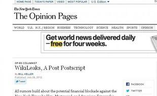 """La page """"Opinion"""" du site du New York Times a été copiée pour diffuser un faux éditorial."""