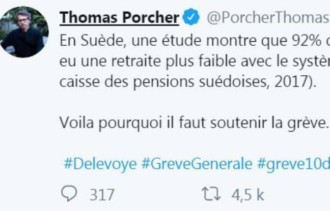 Capture écran du compte Twitter de Thomas Porcher