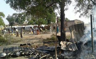 Les ruines d'un camp de déplacés de Rann, au Nigeria, après un raid aérien «par erreur» de l'armée nigériane, le 17 janvier 2017.
