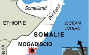Infographie avec la carte localisant Mogadiscio en Somalie