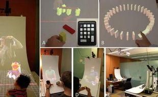 MirageTable, un prototype de solution de réalité augmentée interactive de Microsoft.