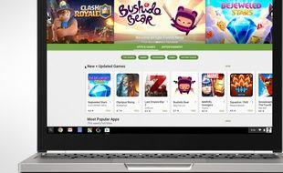 Le boutique Google Play d'Android sur un Chromebook Pixel.