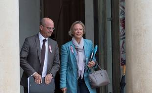 Jean-Michel Blanquer et Sophie CLuzel, en charge des personnes handicapées à la sortie de l'Elysée le 3 octobre 2018.