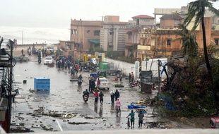 La ville côtière de Puri en Inde, lors du passage du cyclone Fani, le 3 mai 2019.